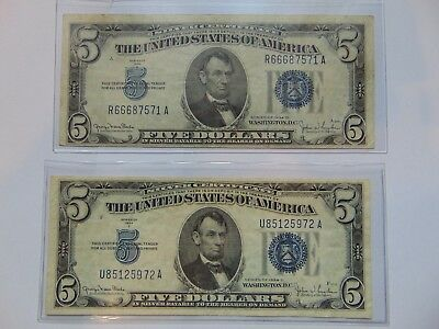 Lot Of 2 - SERIES 1934 D $5 DOLLAR SILVER CERTIFICATES VERY NICE CONDITION