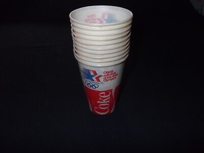 Coca Cola Cup Lot Of 10 Los Angeles 1984 Olympics Lily Cups 7.25 oz Paper Coke