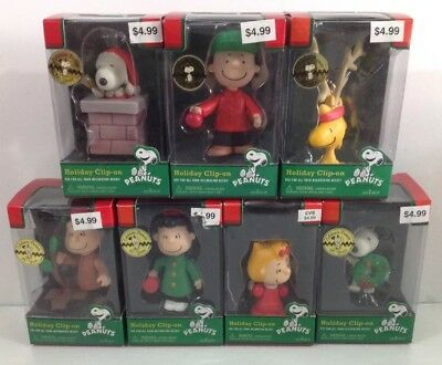 PEANUTS GANG 2011 (Lot of 7) Holiday Christmas Clip-on Ornaments - New/Sealed!