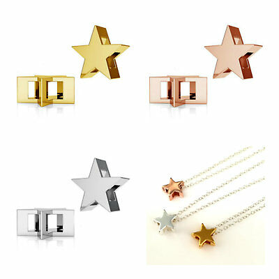 Sterling Silver 3D Star Pendant Rose Gold Plated Gold Plated Multi Listing