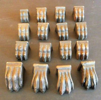 vintage stamped brass claw feet lot of 16 furniture different sizes duncan Phyfe