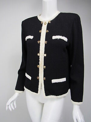 ST JOHN COLLECTION Black Santana Knit White Fringed Trim Zip Front Jacket sz 6
