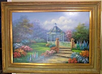 vintage large C Jaffey signed oil on canvas frame garden gazebo BEAUTIFUL  45X33