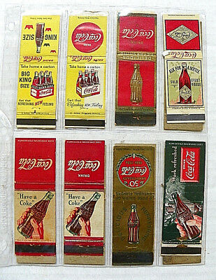 """(Lot Of 8) """"drink Coca-Cola"""" Matchbook Covers"""