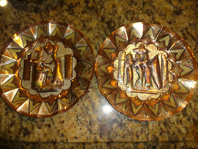 PAIR VINTAGE EGYPTIAN WALL ART Metal Copper Brass Hanging Plate Rare