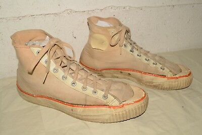 Vtg 50s 60s USA MADE Canvas AMERICAN Basketball SHOES Mens 10.5-11