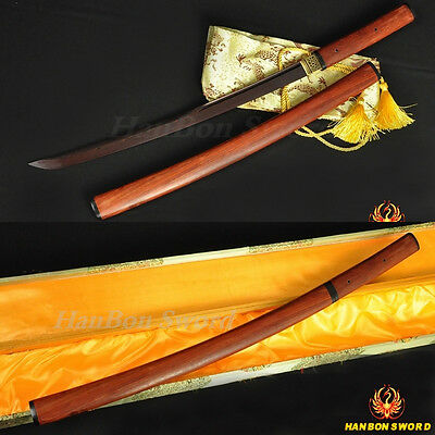 Handmade Katana Japanese Samurai Red Wooden Shirasaya Sword Black&red Blade 41""