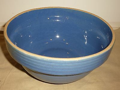 Vintage Yellow Ware Medium Mixing Bowl, Blue, N16