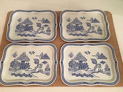 Chinoiserie Blue and White Tin Trays-Set of 4