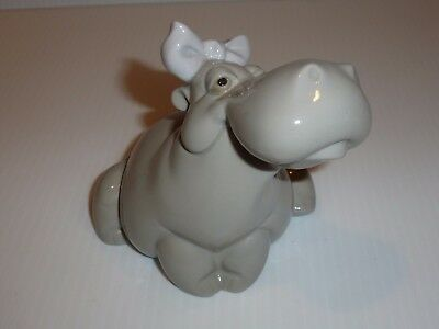 NAO Lladro Hippopotamus with Bow and Flower Figurine-FLAW