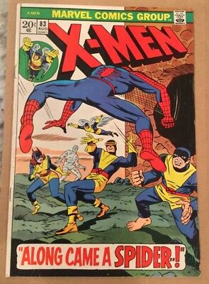 Uncanny X-Men #83! Spider-Man Appearance 1973 Bronze Age Key! 12 Pictures! Nice!