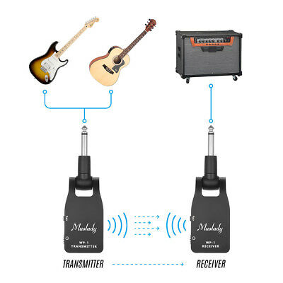 Muslady 2.4G Wireless Transmitter Receiver for Electric Guitar Bass Black X1F7