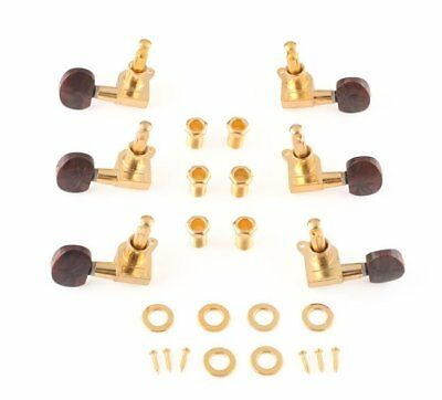 US Guitar Machine Heads TUNING KEY Pegs Tuners with Chocolate Buttons (3L + 3R)