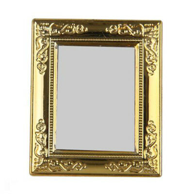 NEW 1/12th Scale Dolls House Miniatures Gold Frame Rectangular Mirror