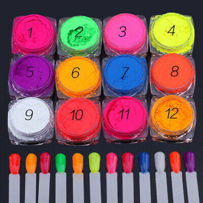 12 Colors/Set Neon Phosphor Nail Art Pigment Powder Glitter Manicure Decor Tips