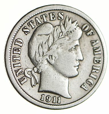 Higher Grade - 1911 Barber Liberty US Silver Dime - Great Detail in LIBERTY *123