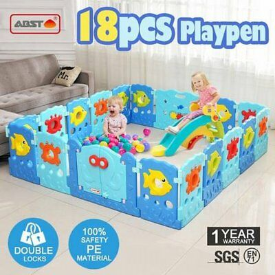 NEW Colourful 18 Sided Panel Sea World Theme Interactive Baby Playpen Play Area