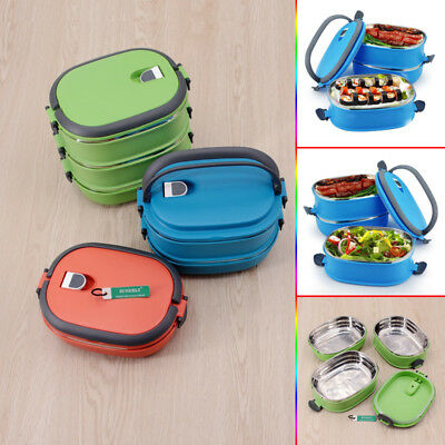 Lunch Box Bento Thermos Heated Food Stainless Steel Storage Container Insulated