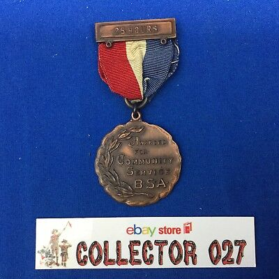 Boy Scout Vintage Metal Awarded For Community Service B.S.A. 25 Hours