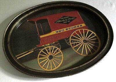 Vintage Tin Litho Tray Advertising Tray - The Great Atlantic & Pacific Tea Co.
