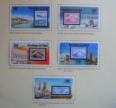 Set of 5 stamps.CHAD.The Zeppelin Airship in Retrospect.Issued 1977