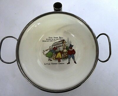 Vintage Metal/Ceramic Child's Warming Dish, Nursery Rhyme Theme