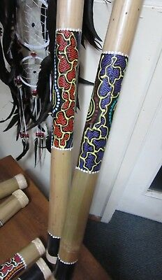 1 X  Rainstick 80 Cm Bamboo With Aboriginal Style Painting Sweet Sounding