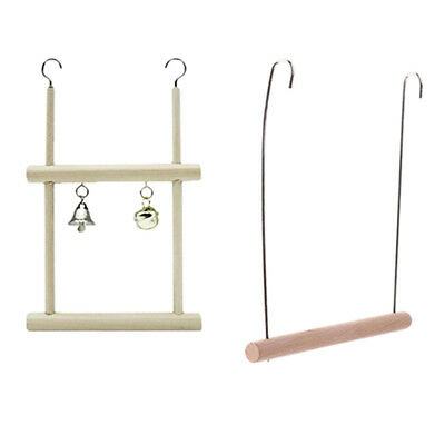 2x Bird Parrot Wood Ladder Climb Macaw Cage Swing Shelf Parrot Bite Play Toy