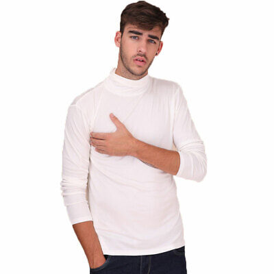 New Mens Turtleneck Jumper Pure Silk Pullover Knitted Polo Roll Neck Knit Top