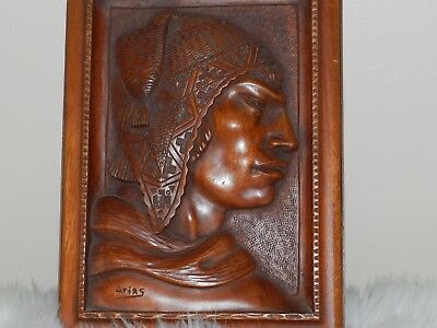 """Vintage Wood Carving Mexican Arias Bas Relief Bolivia Carved Plaque 11"""" X 8"""""""