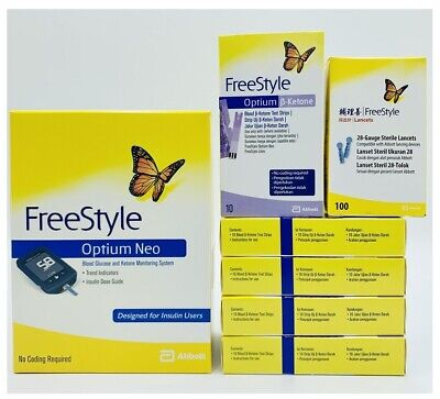 Abbott Optium Neo Meter + 5x Boxes Ketone Test Strips + 1x Box Lancet