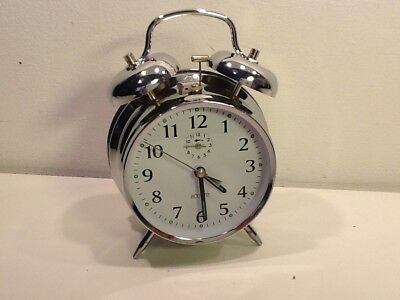 Vintage Acctim Chrome Twin Bell Alarm Clock,with inset alarm dial