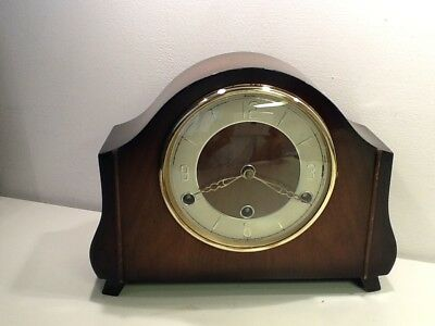 Vintage Bentime 8 Day Westminster Chime Oak Cased Mantel Clock,c1940's