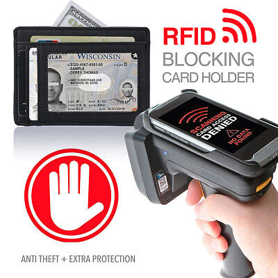 Men's RFID Leather Slim Front Pocket Wallet Card Holder with ID Window, Rugged