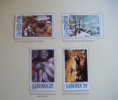 Set of 4 x stamps LIBERIA.Paintings 2nd series.1969.(2)
