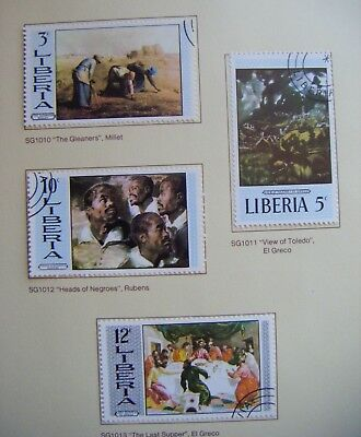 Set of 4 x stamps LIBERIA.Paintings 2nd series.1969.