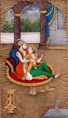 Shahjahan with Mumtaz in Love Scene fine work miniature art old paper Painting