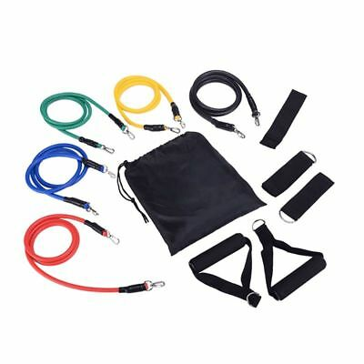 Resistance Bands Set 11pcs Exercise Yoga Fitness Workout Training Strength Strap