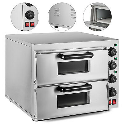 Electric 3000W Pizza Oven Double Deck Ceramic Stone Cooking Rotisserie 110V