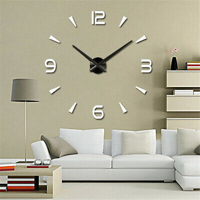 UK DIY Large 3D Number Mirror Art Clock Wall Sticker Big Watch Home Room Decor