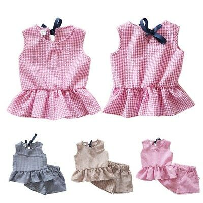 Cute Baby Kid Girl Cotton Sleeveless Ruffle Blouse Top+Short Pant Outfits Set