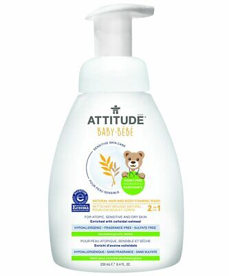 Attitude 2-in-1 Natural Hair and Body Foaming Wash Baby, Fragrance Free, 8.4