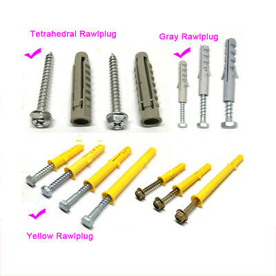 8/10/12/14mm Dia Rawlplug Expansion Screws 40-120mm long For TV Rack Mounting