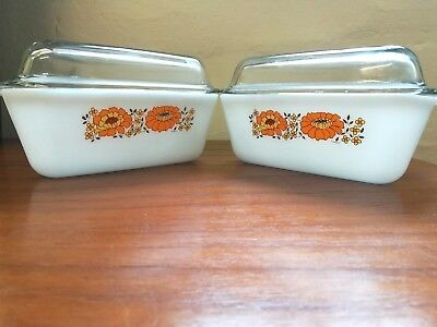 1970s Retro Pyrex Dishes with Glass Lid Sunflowers x 2 Triangular Shaped Cassero