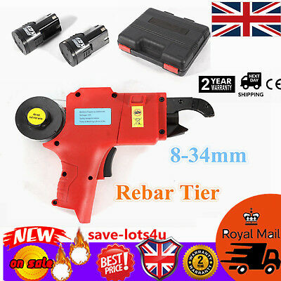 Automatic Handheld Rebar Tier Tool Strapping 8mm-34mm Wrench Tying Machine w/Box