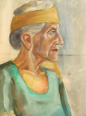 Vintage Impressionist Oil Painting Old Woman Portrait