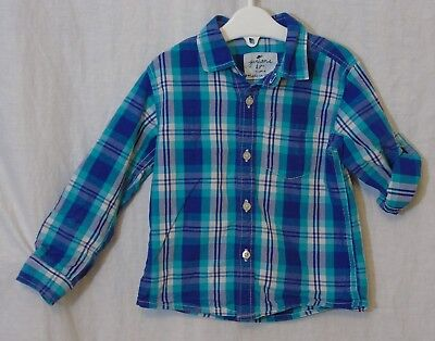 Baby Boys Juniors Blue Green Check Adjustable Long Sleeve Shirt Age 18-24 Months