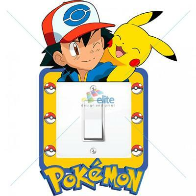 Pokemon Light Switch Surround Sticker Decal Kids Boys Girls Bedroom