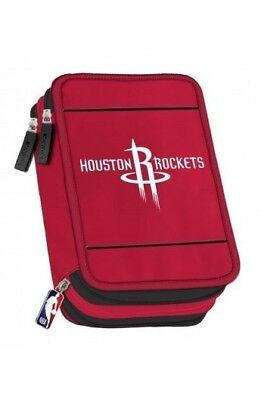 66a7fce392 ASTUCCIO 3 zip NBA Panini HOUSTON ROCKETS accessoriato 2018 triplo ROSSO  materia