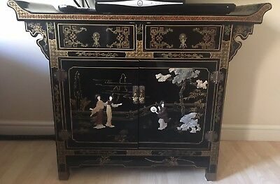 Orientral Style Black Laquer Cabinet